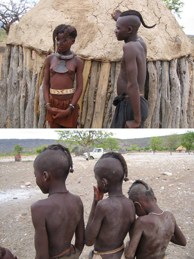 The Himba girls and boys have different hairstyles.